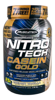 Nitro Tech Casein Gold Muscletech 2,5lbs (1,13kg) Caseína