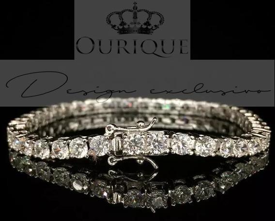 Pulseira Riviera De Ouro 18k 750 Com 3,6 Quilates Diamantes