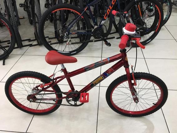 Bicicleta Aro 20 Cross Homem Aranha + Buzina + Rodinh