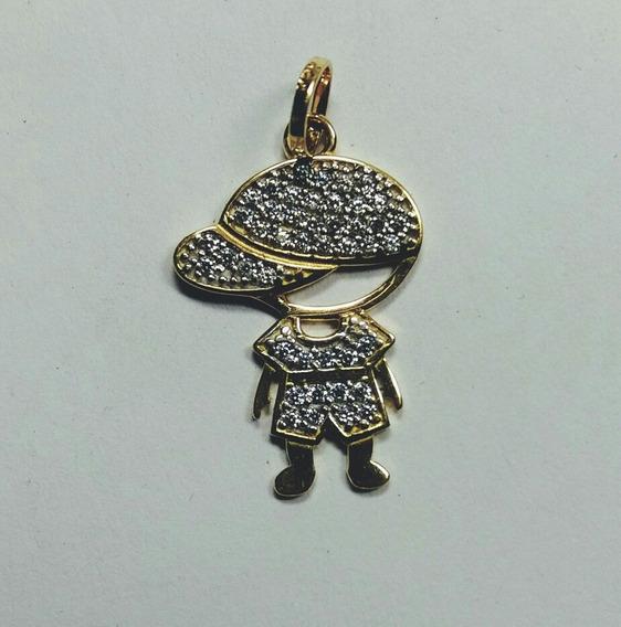 Pingente Boneco De Ouro Amarelo Com Pedras 18kl 750