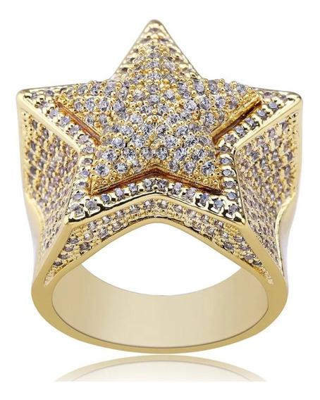 Anel Star Estrela Cravejado Banhado A Ouro 18k