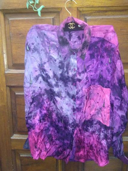 Camisa Violeta Mangas Largas Retro Vintage