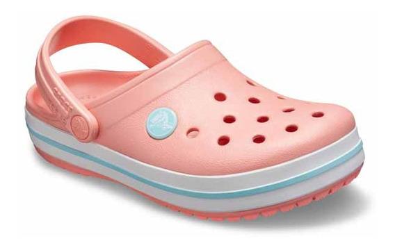Zapato Crocs Unisex Infantil Crocband Kids Melón/azul Claro
