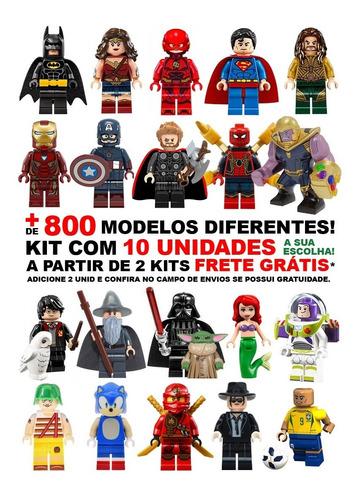 Kit 10 Bonecos Vingadores Heróis Star Wars Disney Compatível