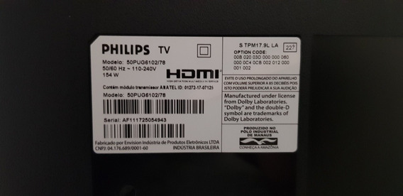 Tv Led Smart Ultrafina 4k Philips 50pug6102/78 Tela Quebrada