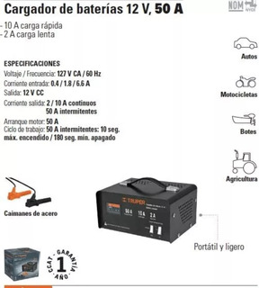 Cargador De Bateria Con Arrancador 12v 50 A Carba-50 13027