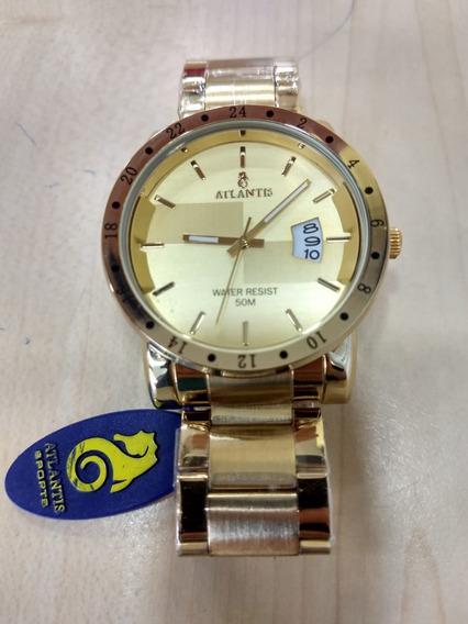 Relógio Atlantis Dourado Masculino Calendário Cx Nota