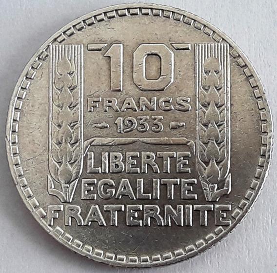 Francia Moneda De Plata Del Año 1933 De 10 Francos Excelente