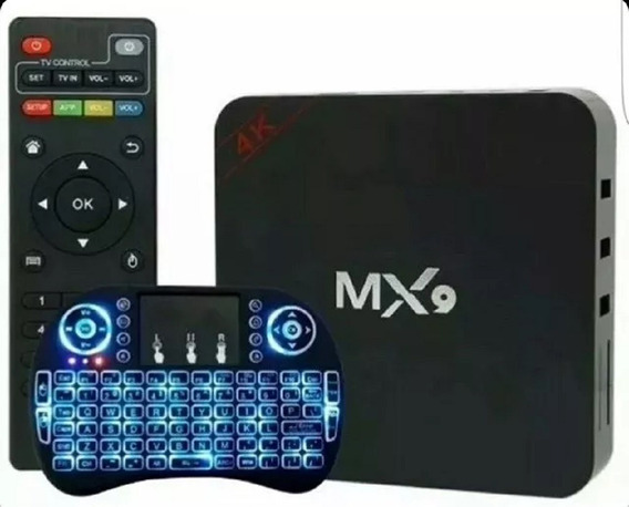 Conversor Tvbox Mx9 5g 4gb/32gb + Teclado Led 3 Cores