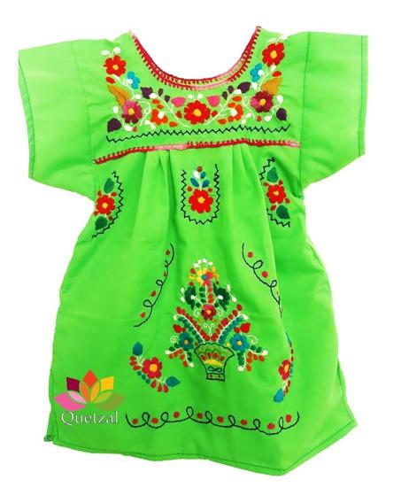 Vestido Mexicano Artesanal Bordado Bebé Típico Niña