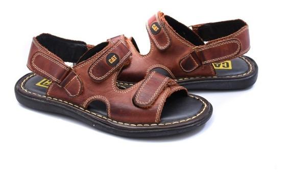 Sandalia Chinela, Cat Cuero Velcro Cosida, Entrega Inmediata