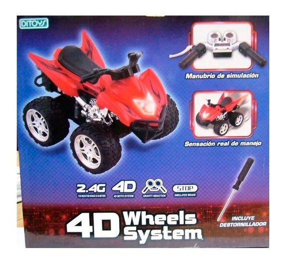Cuatriciclo 4d Wheels Moto 4 D Manubrio Sensacion Real Ditoy