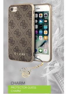 Funda iPhone Plus 8 7 6 Guess Charm 5.5pulg Hard Case Dorada