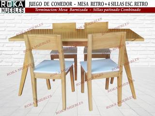 Juego Comedor Mesa Retro 1.40+ 4 Sillas Retro Patinado