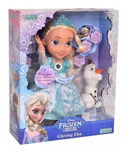 Imagen 1 de 10 de Muñeca Glowing Elsa Frozen Canta Se Ilumina Ditoys Promo