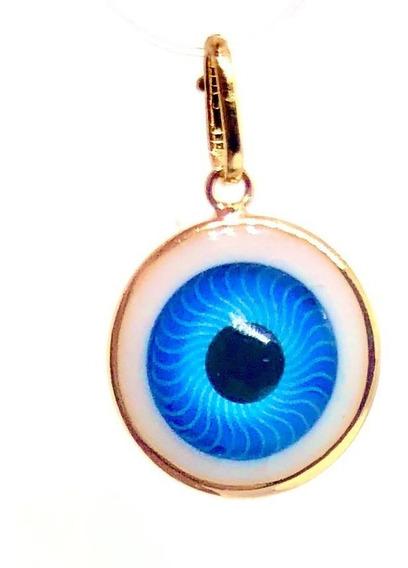 Pingente Olho Grego Turco Azul Folheado Ouro 18k Stlr01