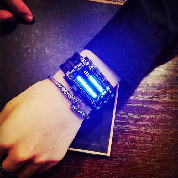 Relógio Bracelete Luxo Aço Led Prova Dágua Binário
