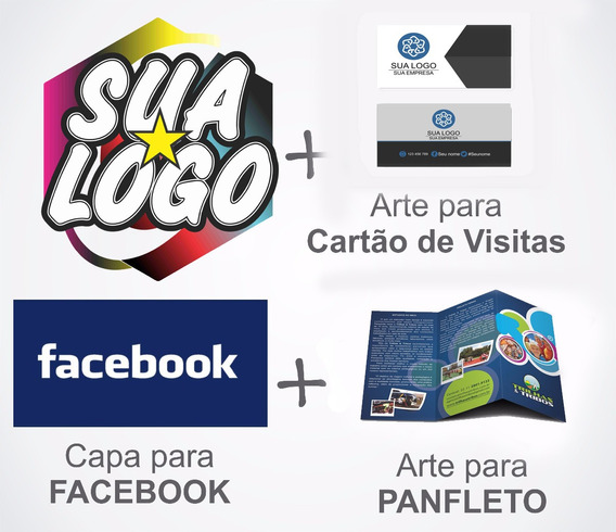Kit Artes Logotipo+ Cartão Visita + Capa Facebook + Panfleto