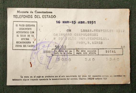 Antigua Boleta De Telefonos Del Estado Del Año 1951