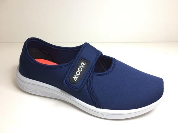 Tênis Feminino Slip Sapatilha Confortável Leve Azul Preto