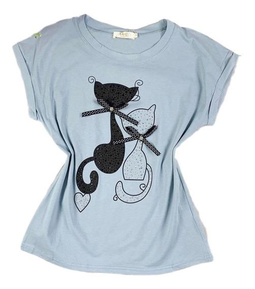 Blusa T-shirt Femini Algodao Pedrarias Gatos Verao Importado