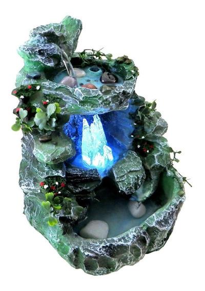 Fonte De Água Cascata Com Cristal Led Colorido Escura