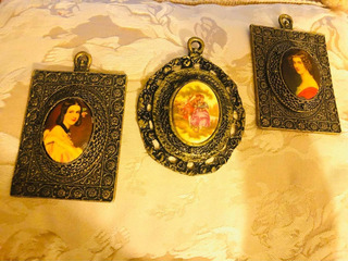 Cuadros Miniaturas Fragonard Y Damas 24 K Gold