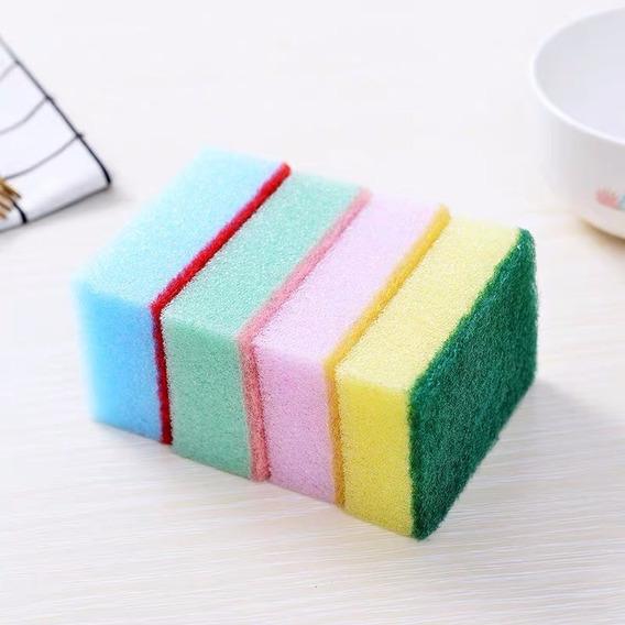 Fibra Esponja Para Lavar Trastes Paquete 10 Piezas Colores