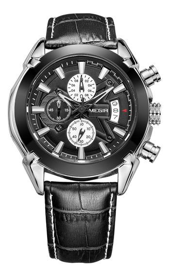 Megir Marca Nueva Moda Hombre Reloj Cuero Banda 3 Pequeños