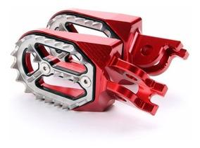 Par Pedaleira Crf 230 Inox Cnc Alumínio Cross Nx Xr Vermelho