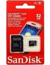 Cartão Micro Sandisk Ou Samsung 32 Gb+adaptador Grátis