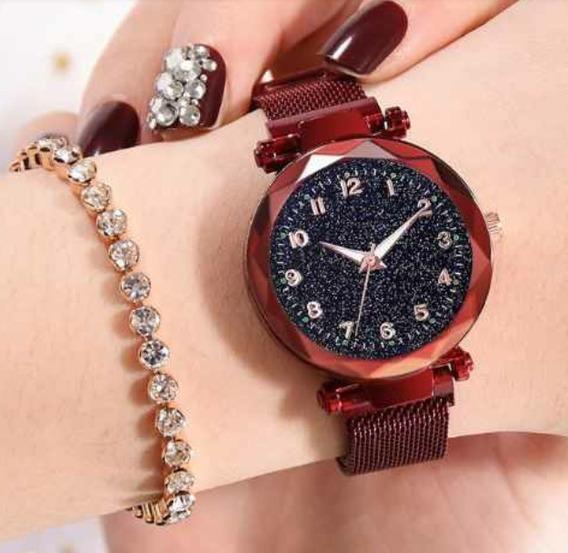 Relógio Feminino Ceu Estrelado Pulseira Magnética Promoção