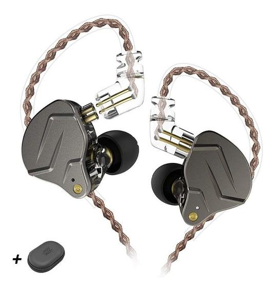 Fone De Ouvido Kz Zsn Pro Sem Microfone (cinza) (brinde Case)