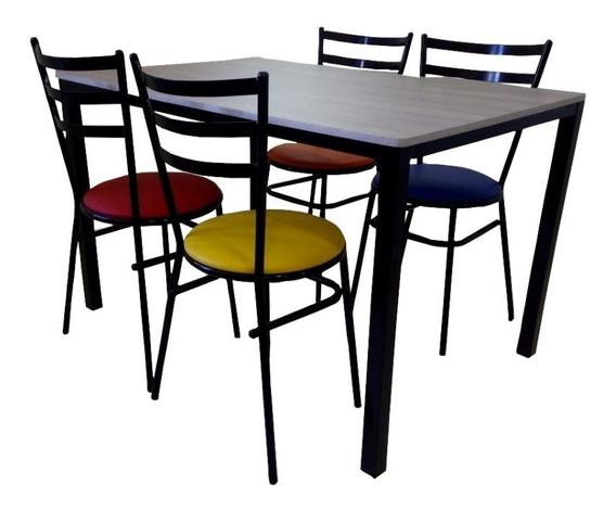 Jogo De Mesa Retangular Com 4 Cadeiras Para Refeitórios