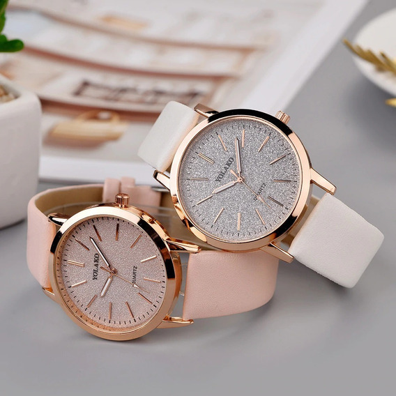 Relógio De Pulso Feminino Quartzo Galaxy Metalizado Couro