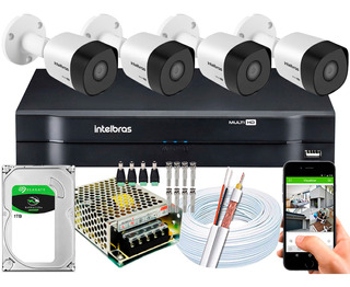 Kit Cftv 4 Cameras 3230b G4 1080p 2mp Intelbras Dvr 8 Canais