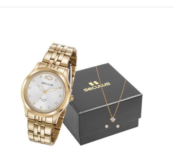Relógio Seculus Feminino Analógico Dourado + Brinde + Nf