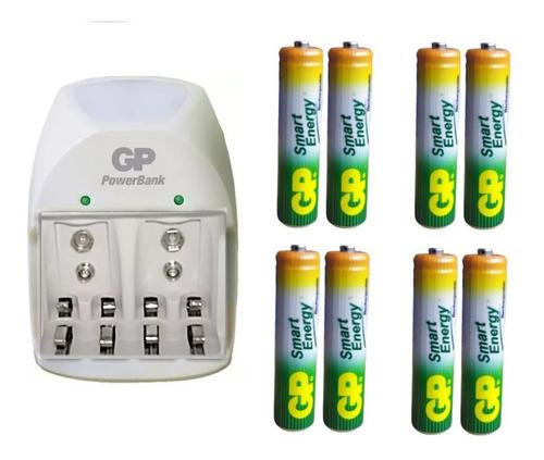 Imagen 1 de 1 de Cargador  + 8 Baterías Aaa 400 Mah Recargables Marca Gp
