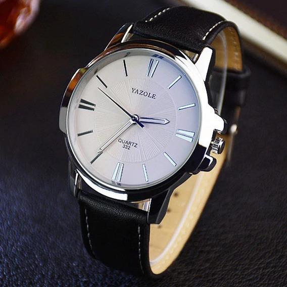 Relógio Masculino Yazole Luxo Pulseira Couro Social Preto