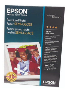 Papel Fotográfico Premium Epson Semi Brillante 4x6 40 Hojas