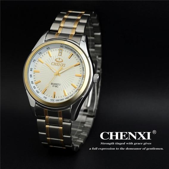 Relógio Prata E Dourado Chenxi Importado Lindo E Elegante
