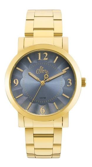 Relógio Allora Feminino Dourado Kit Semijóia Al2035fna/k4a