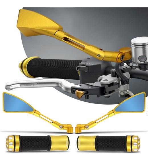Kit Retrovisor Manopla Esportivo Xj6 Mt03 Mt07 Mt09 Dourado