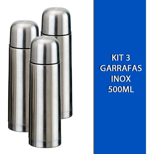 Kit 3 Garrafas Térmicas Inox 500ml Quente E Frio