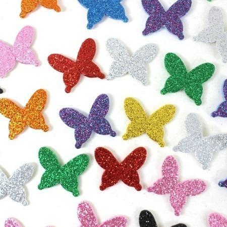 50 Adesivos Pet E V A Com Glitter - Borboletas
