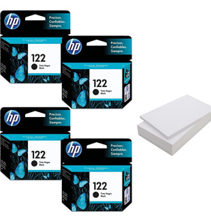 Kit De 4 Cartuchos Hp 122 Negro+ Resma De Papel