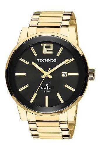 Relógio Masculino Technos Golf 2115tt 4p 45mm Aço Dourado