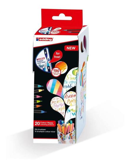 Marcador Para Papel Punta Pincel Edding 1340 Set 20 Colores