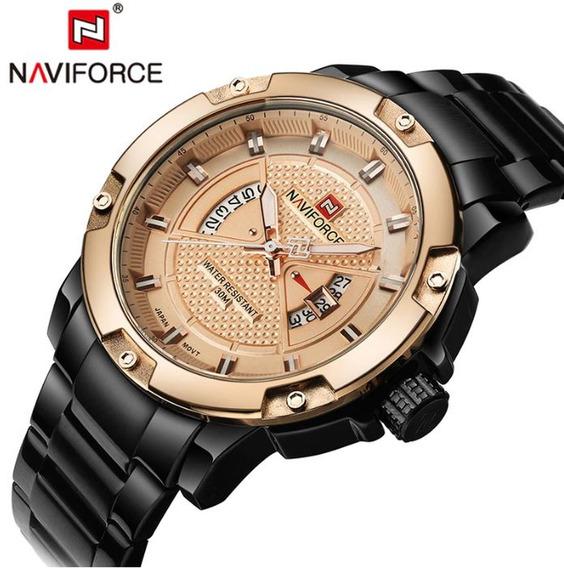 Relogio Masculinho Dourado Naviforce 9085 Original Barato