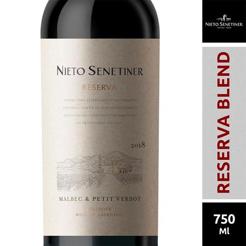 Imagen 1 de 1 de Vino Reserva Malbec-petit Verdot Nieto Senetiner X 750ml